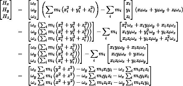 \begin{eqnarray*} \begin{bmatrix} H_x\\H_y \\H_z \end{bmatrix}&=&\begin{bmatrix} \omega_x\\\omega_y \\\omega_z \end{bmatrix}\left(\sum_{i} m_i\left(x_i^2+y_i^2+z_i^2\right)\right)-\sum_{i}m_i\begin{bmatrix} x_i\\y_i \\z_i \end{bmatrix}\left(x_i\omega_x+y_i\omega_y+z_i\omega_z\right)\\ &=&\begin{bmatrix} \omega_x\left(\sum_{i} m_i\left(x_i^2+y_i^2+z_i^2\right)\right)\\\omega_y \left(\sum_{i} m_i\left(x_i^2+y_i^2+z_i^2\right)\right)\\\omega_z \left(\sum_{i} m_i\left(x_i^2+y_i^2+z_i^2\right)\right)\end{bmatrix}-\sum_{i}m_i\begin{bmatrix} x_i^2\omega_x+x_i y_i\omega_y+x_i z_i\omega_z\\x_i y_i\omega_x+y_i^2\omega_y+y_i z_i\omega_z \\x_i z_i\omega_x+y_i z_i\omega_y+z_i^2\omega_z \end{bmatrix}\\ &=&\begin{bmatrix} \omega_x\left(\sum_{i} m_i\left(y_i^2+z_i^2\right)\right)\\ \omega_y \left(\sum_{i} m_i\left(x_i^2+z_i^2\right)\right)\\ \omega_z \left(\sum_{i} m_i\left(x_i^2+y_i^2\right)\right)\end{bmatrix}-\sum_{i}m_i\begin{bmatrix} x_i y_i\omega_y+x_i z_i\omega_z\\x_i y_i\omega_x+yz\omega_z \\x_i z_i\omega_x+y_i z_i\omega_y \end{bmatrix}\\ &=&\begin{bmatrix} \omega_x\sum_{i} m_i\left(y^2+z^2\right)-\omega_y\sum_{i}m_i x_i y_i - \omega_z\sum_{i}m_i x_i z_i\\ \omega_y \sum_{i} m_i\left(x^2+z^2\right)-\omega_x\sum_{i}m_i y_i z_i - \omega_x\sum_{i}m_i y_i x_i\\ \omega_z \sum_{i} m_i\left(x^2+y^2\right)-\omega_x\sum_{i}m_i z_i x_i - \omega_y\sum_{i}m_i z_i y_i\end{bmatrix}\end{eqnarray*}